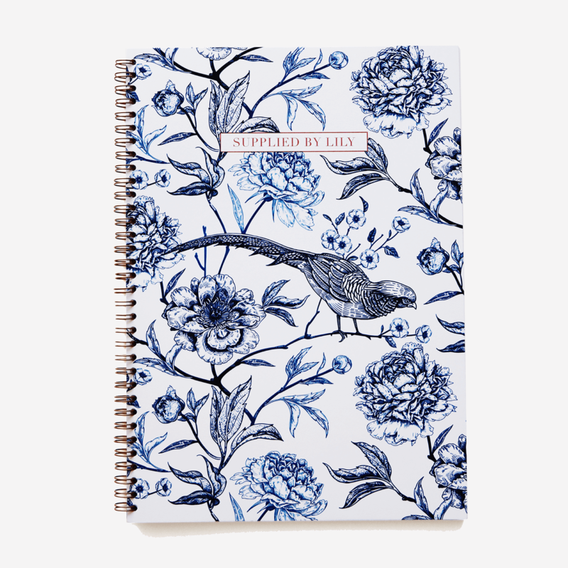 A4 Spiral Notebook in Luxurious Toile de Jouy