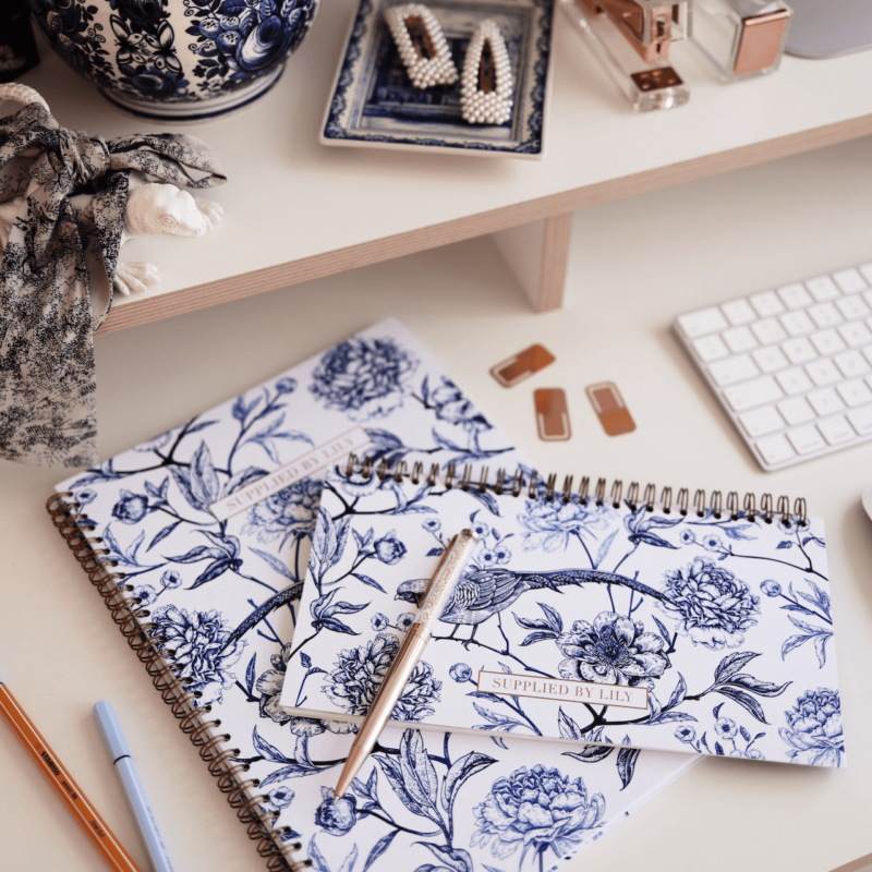Student Desk Planner in Luxurious Toile de Jouy